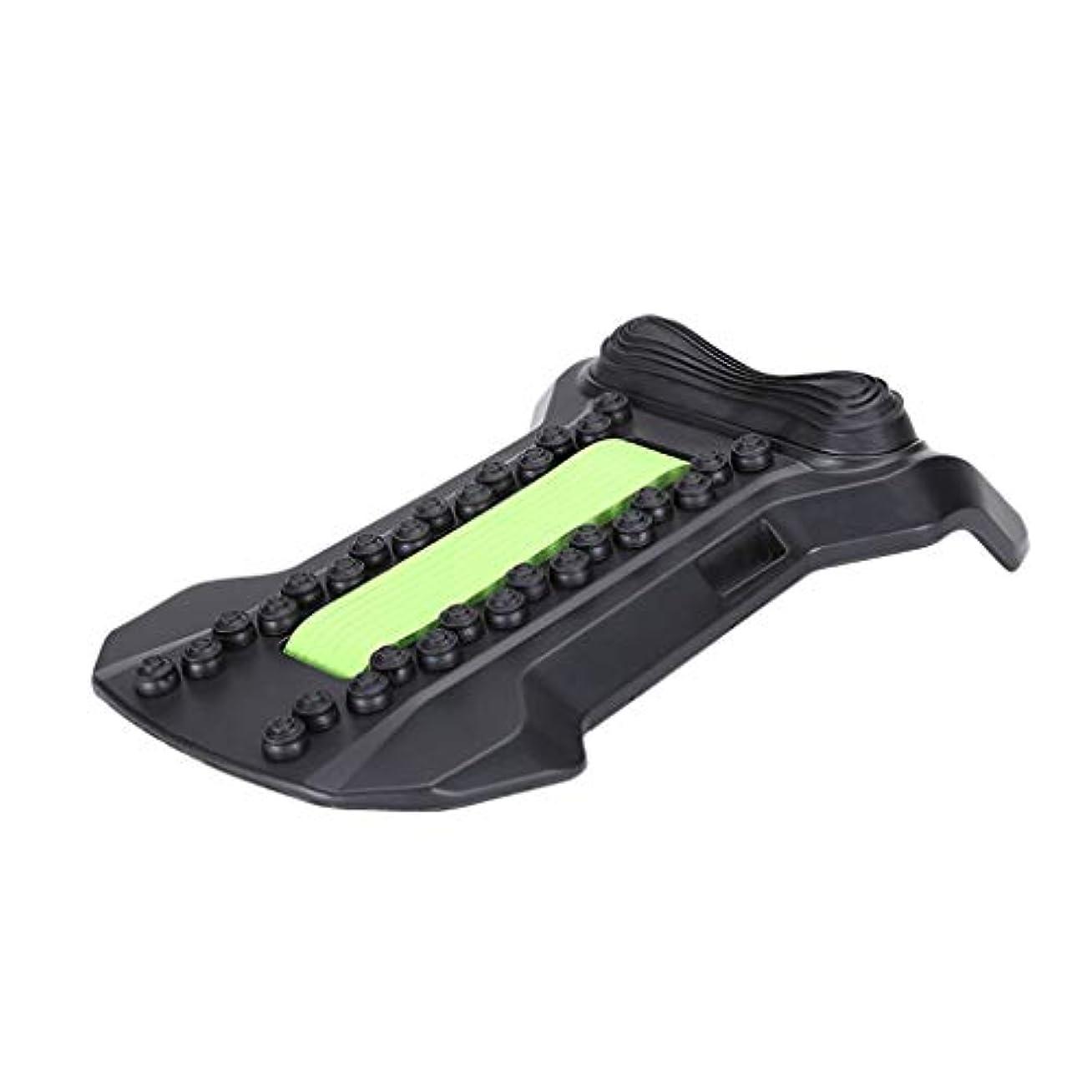 しわ暴力処方背部マッサージャーの伸張装置、腰椎サポート弛緩の魔法の伸張器の適性の仲間の脊椎の痛みを和らげるカイロプラクター,Green