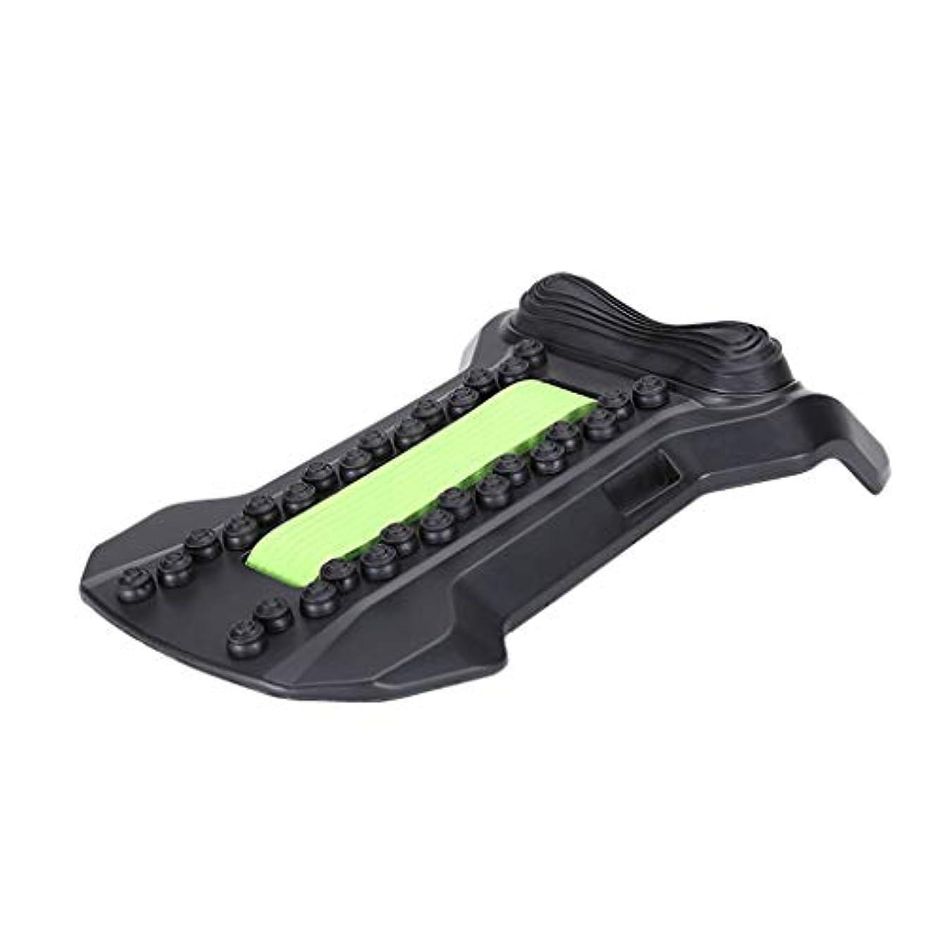 テメリティ混沌影響背部マッサージャーの伸張装置、腰椎サポート弛緩の魔法の伸張器の適性の仲間の脊椎の痛みを和らげるカイロプラクター,Green