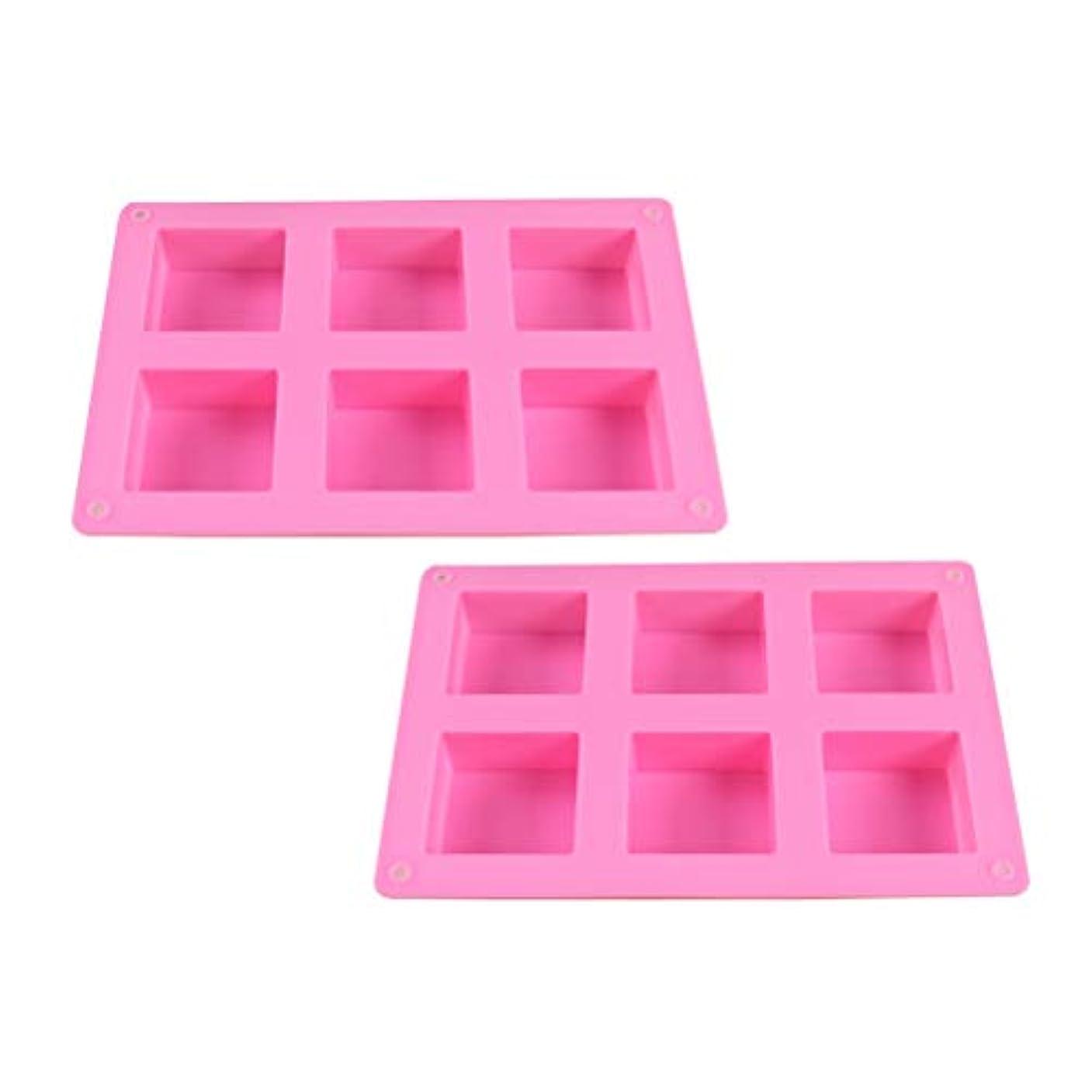 郵便偽物スパンHEALIFTY DIYのケーキのベーキング型のための6つのキャビティシリコーンの石鹸型との石鹸作りのための2PCS石鹸型