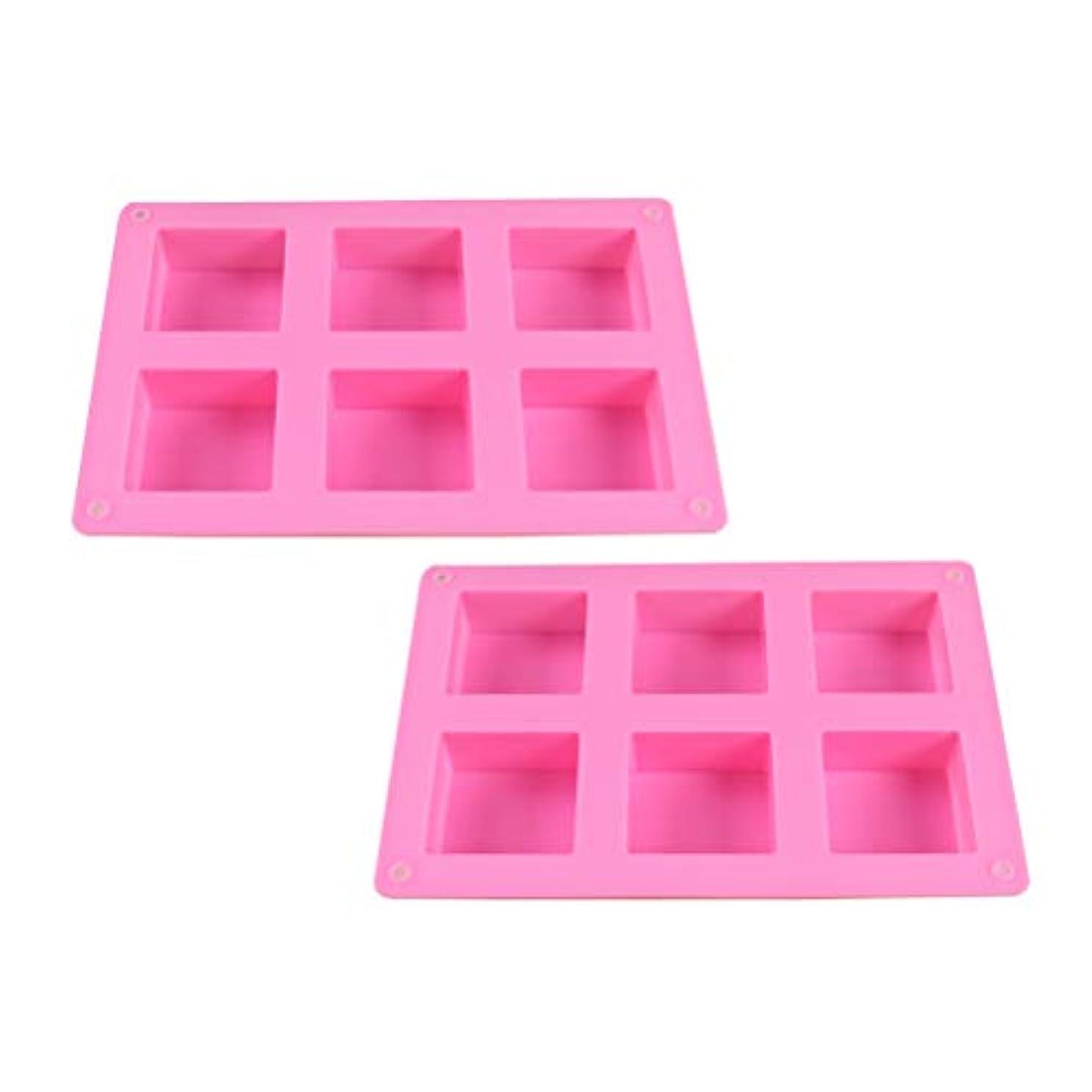 囲む不倫先入観HEALIFTY DIYのケーキのベーキング型のための6つのキャビティシリコーンの石鹸型との石鹸作りのための2PCS石鹸型