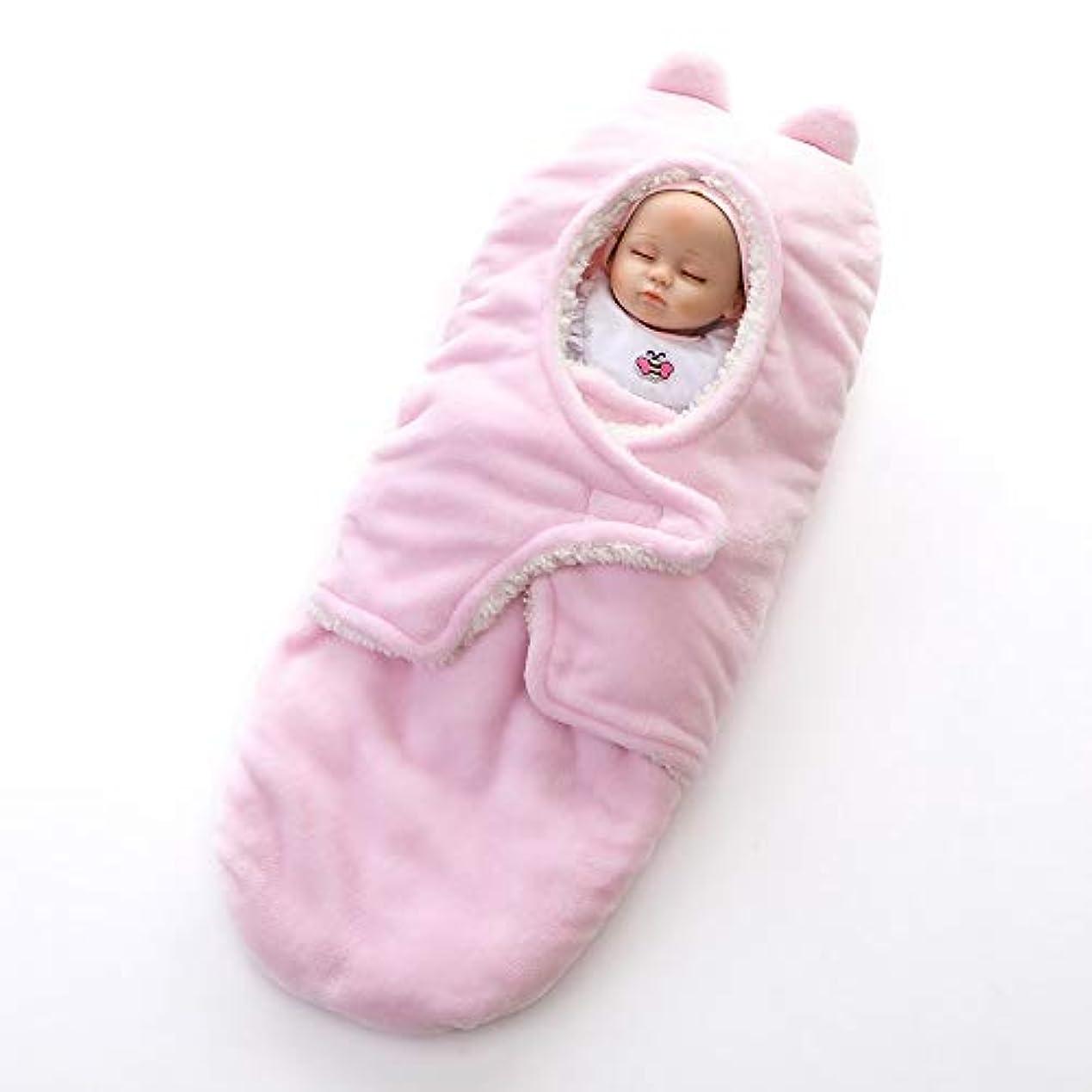 エンジニアリング馬力永久にベビー寝袋 寝袋に包まれた毛布を受けおくるみブランケットフランネルに包まれた新生児ニットベビーカー用 新生児睡眠カプセル (色 : ピンク, サイズ : 40X78cm)