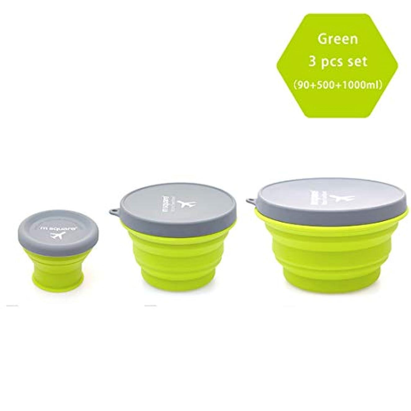 時期尚早辛なおめでとうm正方形折りたたみ式食品グレードシリコンボウル 蓋付き BPAフリー キャンプ 旅行 ペット ハイキング バックパッキングボウル 3個セット グリーン