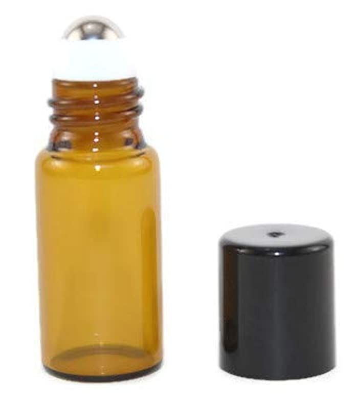 シェトランド諸島本部しなやかなUSA 144 Amber Glass 3 ml Mini Roll-On Glass Bottles with Stainless Steel Roller Balls - Refillable Aromatherapy...