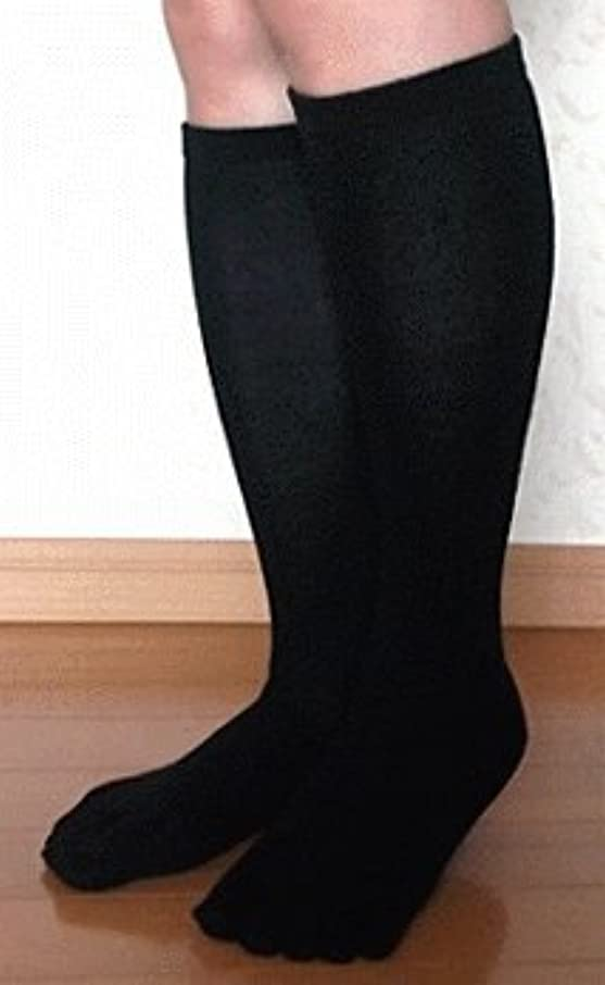 識別ボート目に見える5本指ハイソックス 絹 黒色【22~24cm】 日本製高品質 お買得2足組