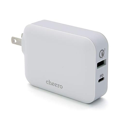 USB 充電器 Power Delivery  Quick Charge 3.0 対応 アダプタ cheero Smart USB Charger 48W 2台同時充電 / パワーデリバリー : 30W / QC3.0 : 18W / コンパクト ・ 軽量