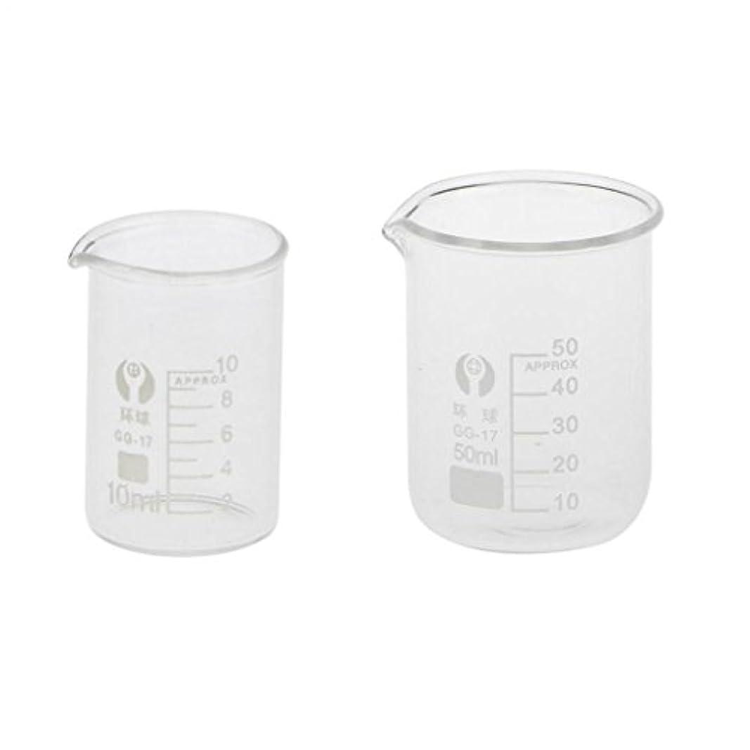 スーパー摩擦約束するSONONIA ビーカー 耐高温 ガラス 測定ツール 透明 化学 ラボ用品 10ml+50ml