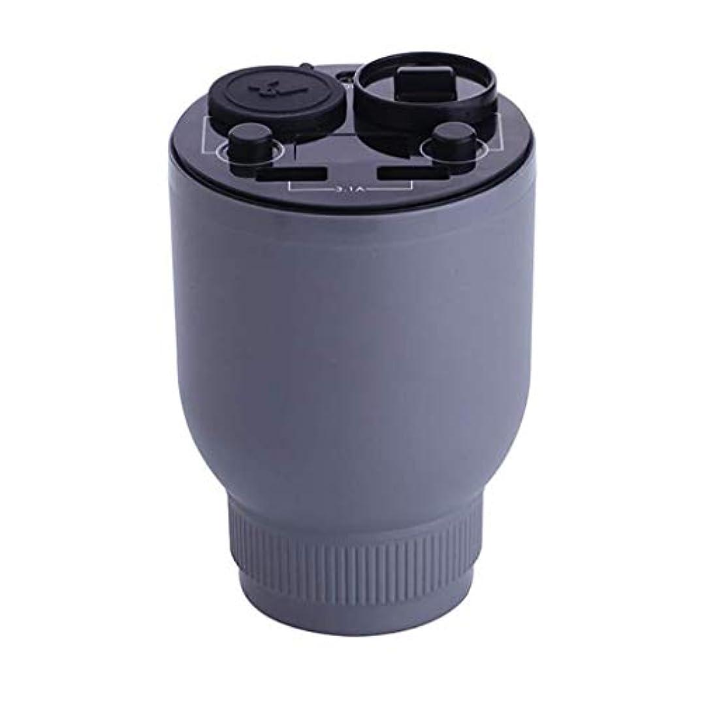 たっぷり聖職者ラボ電気アロマディフューザー、超音波加湿器、携帯用空気浄化アロマテラピーマシン、車のファッションデザイン用車アロマセラピーカップ付きタバコ (Color : Gray)