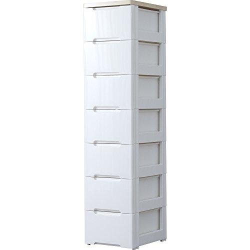 アイリスオーヤマ チェスト 木天板 7段 幅32.4×奥行41×高さ138cm ホワイト/ナチュラル HG-327R
