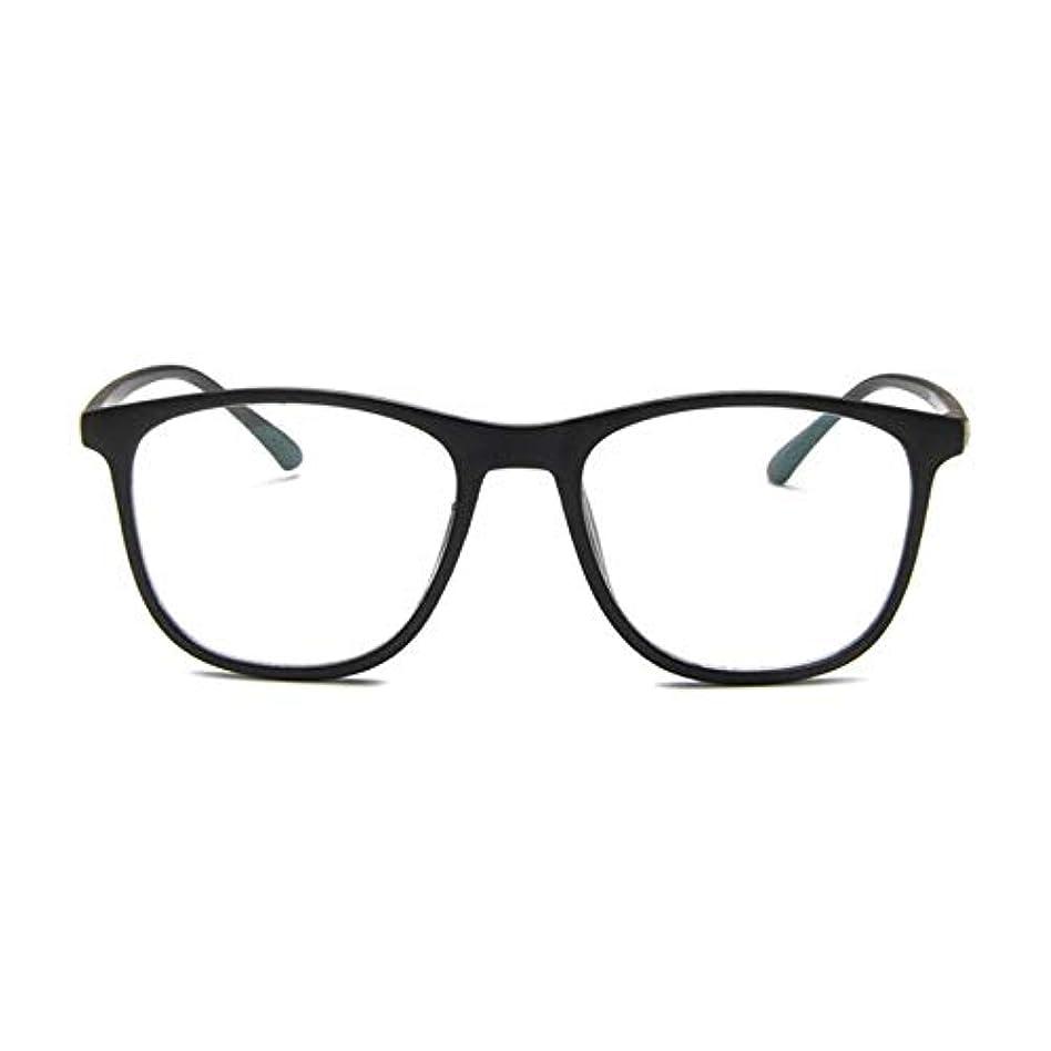 秘密の豊富スモッグ韓国の学生のプレーンメガネの男性と女性のファッションメガネフレーム近視メガネフレームファッショナブルなシンプルなメガネ-マットブラック
