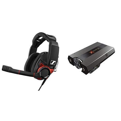 ゼンハイザー ゲーミングヘッドセット 密閉型 ノイズキャンセルマイク GSP 600【国内正規品】 & Creative Sound BlasterX G6 高音質 ポータブル ハイレゾ対応 ゲーミング USB DAC PC PS4 Switch SBX-G6