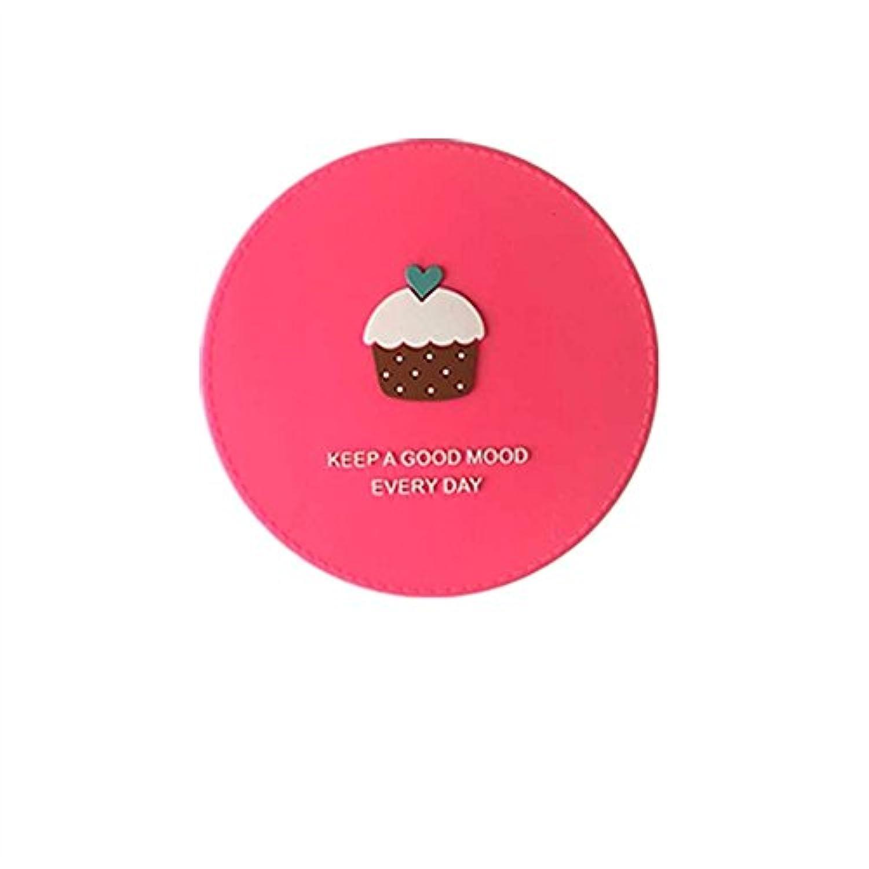HuaQingPiJu-JP ミニラウンド漫画パターン小さなガラスミラー工芸品の化粧品アクセサリーピンクの円