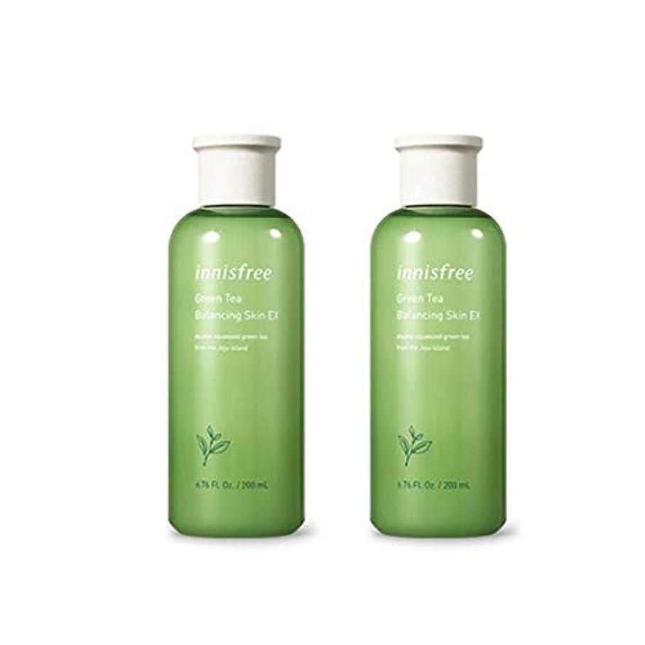 端ストライプ賞賛イニスフリーグリーンティーバランシングスキンEX 200mlx2本セット韓国コスメ、innisfree Green Tea Balancing Skin EX 200ml x 2ea Set Korean Cosmetics...