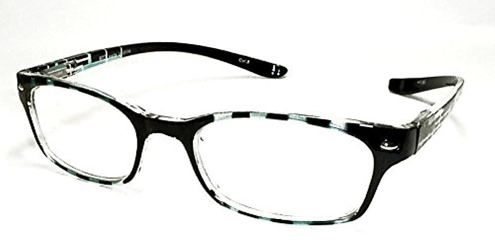 首に下げられるオシャレなブルーライトカット対応既成老眼鏡 ブラック/ブルー +1.0