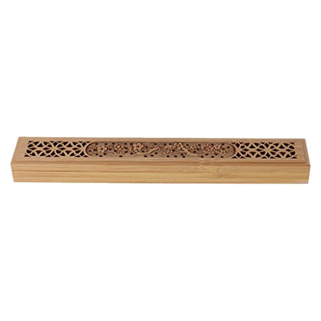 悪因子付添人誰でもSimpleLife 木製の香炉バーナーレトロな手彫り中空のジョス棒の香りホルダーボックス
