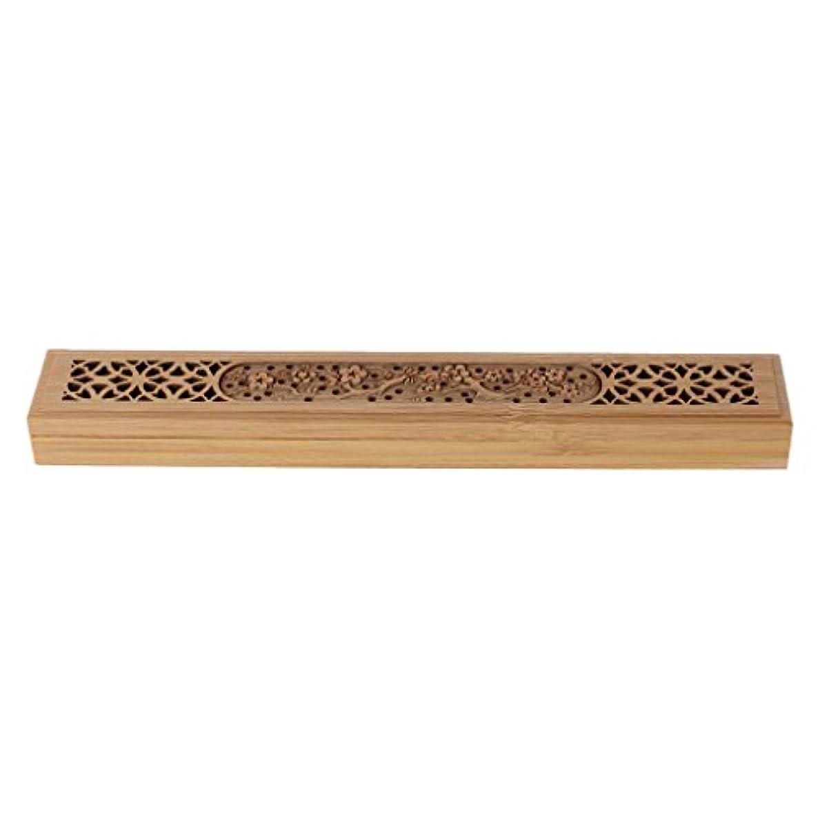 レイア土砂降り無一文SimpleLife 木製の香炉バーナーレトロな手彫り中空のジョス棒の香りホルダーボックス