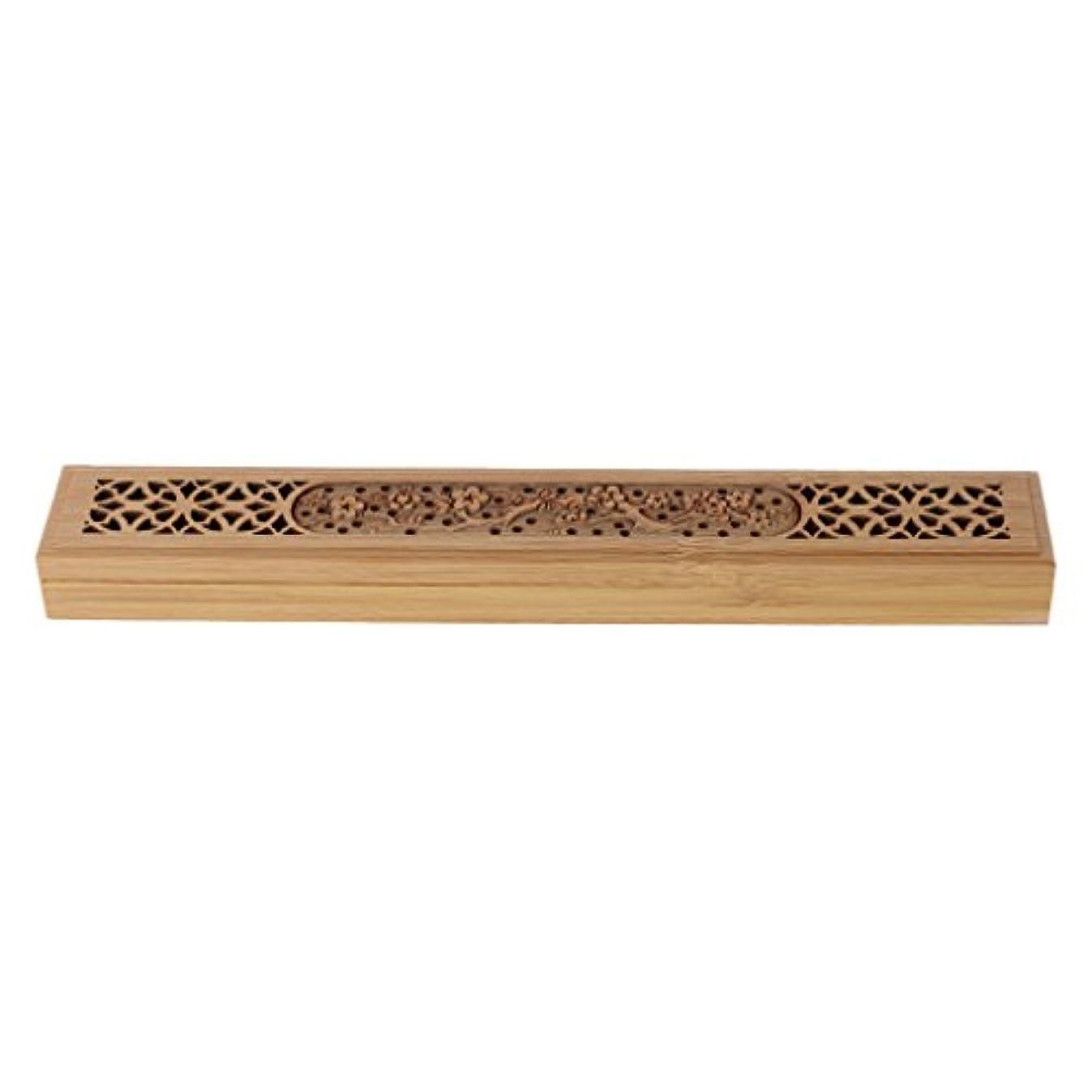 精神呼吸普及SimpleLife 木製の香炉バーナーレトロな手彫り中空のジョス棒の香りホルダーボックス