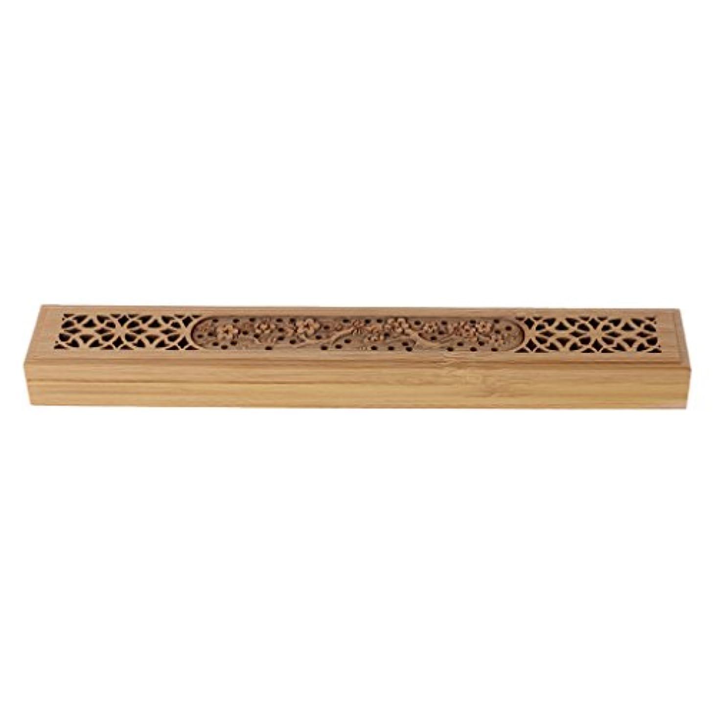 忙しい受け皿静かなSimpleLife 木製の香炉バーナーレトロな手彫り中空のジョス棒の香りホルダーボックス