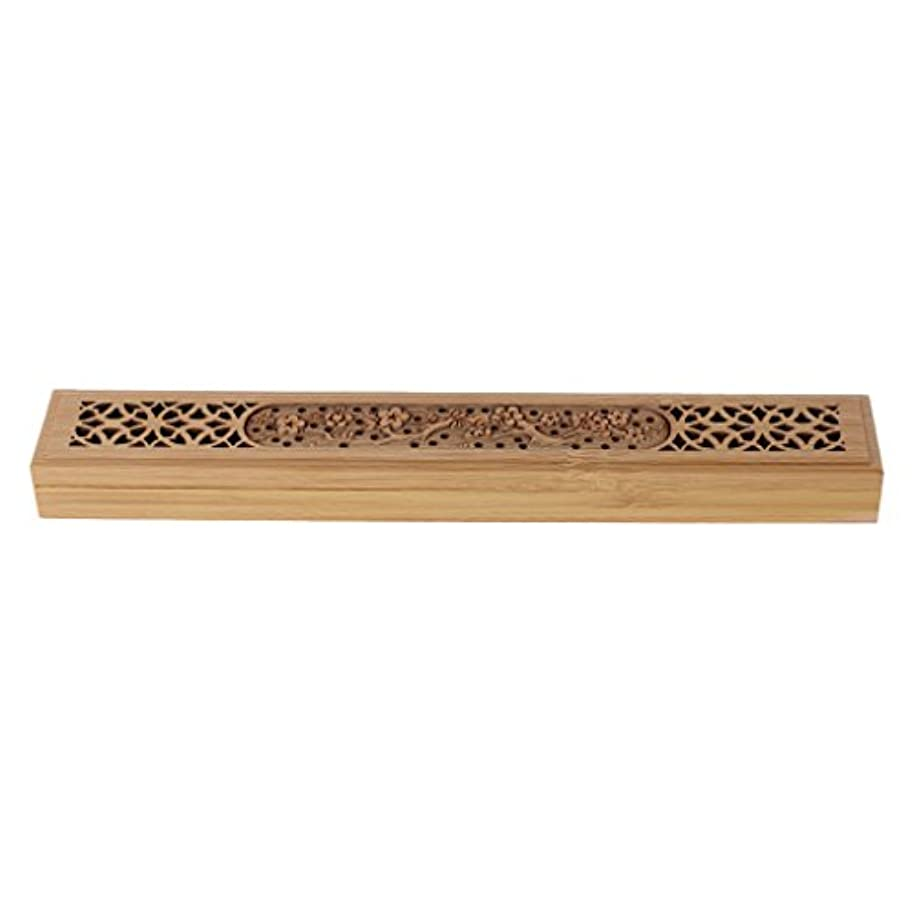 過度に冷ややかな戸口SimpleLife 木製の香炉バーナーレトロな手彫り中空のジョス棒の香りホルダーボックス