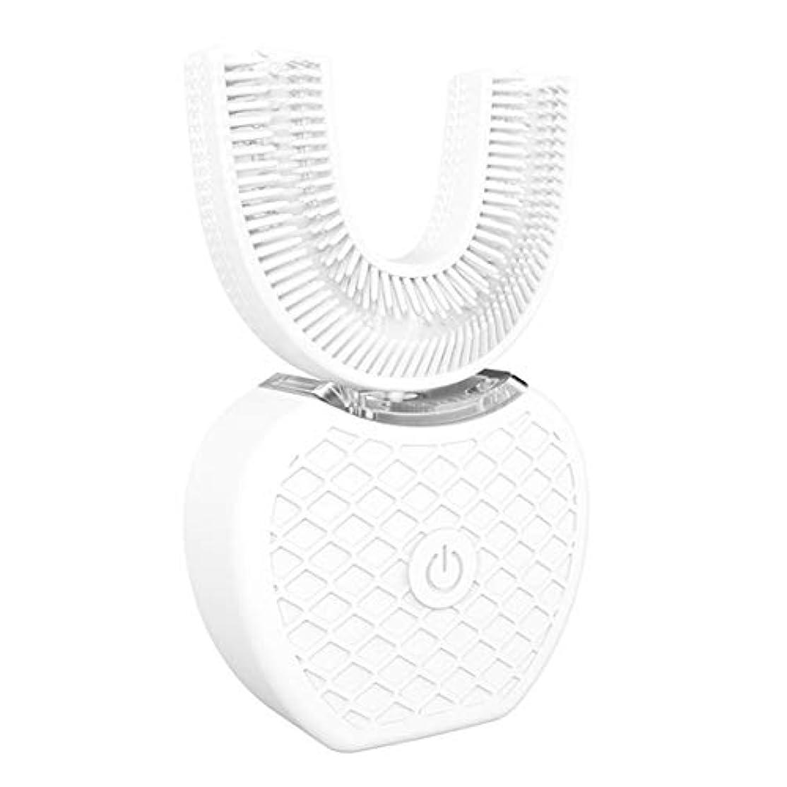 わかる進む空港Vホワイト360インテリジェント自動ソニック電動歯ブラシUタイプUSB充電式口腔歯シリコーンブラシヘッド歯磨き粉(白)