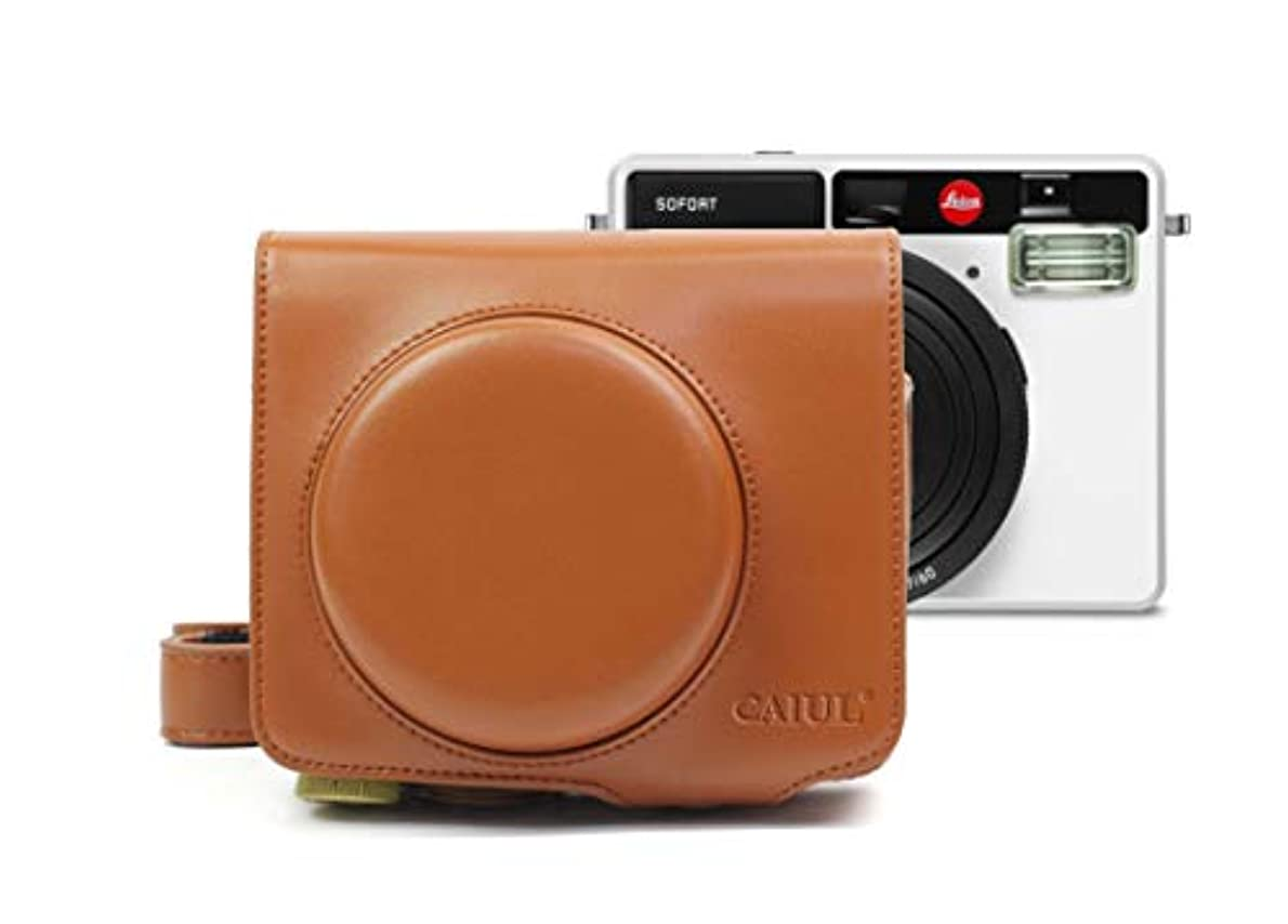 胴体マーティンルーサーキングジュニアゴミ箱を空にするカメラバッグケース、 Leica SofortカメラのためのビンテージPUレザーケースバッグ (色 : Brown)
