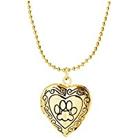 Simple Heart Locket Necklaces Pendant Floating Charms Lockets Animal Dog Paw for Women Girl Memorial Jewelry