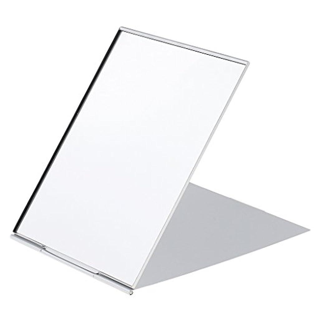 温かい優勢叫ぶメイクアップミラー 鏡 化粧鏡 ミニ ポータブル 折り畳み式 超軽量 シンプル ファッション デザイン シルバー 3サイズ選べる - #1