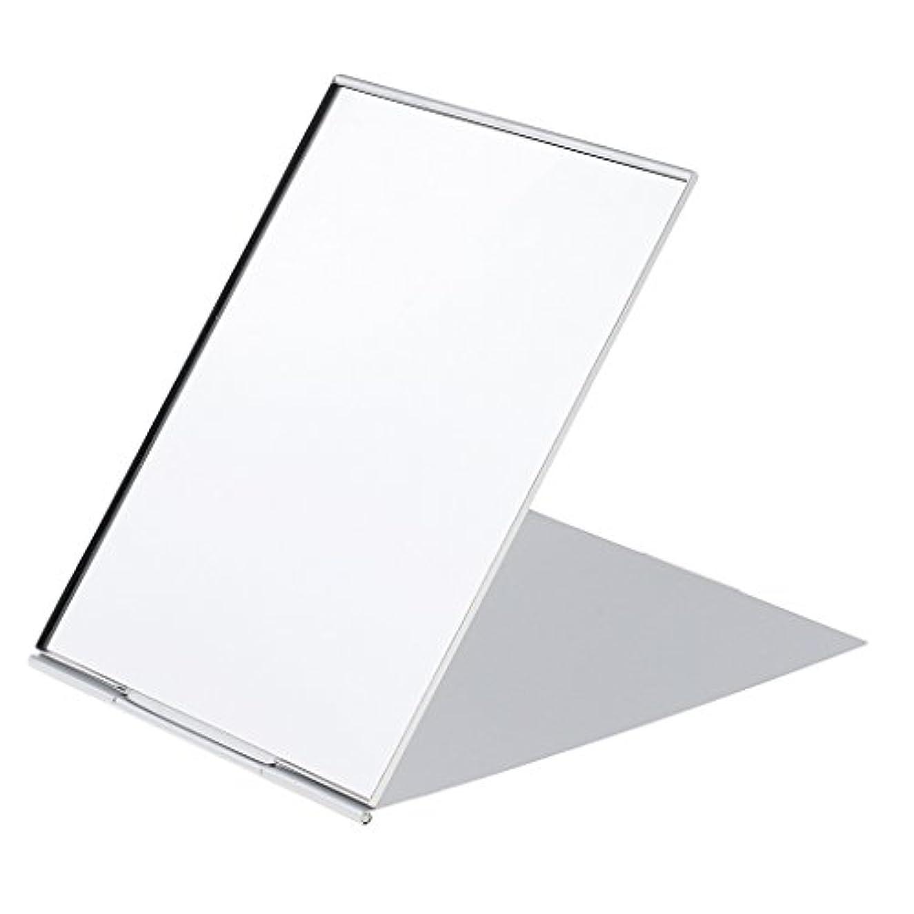 スクラブ他の日小道Perfk メイクアップミラー 鏡 化粧鏡 ミニ ポータブル 折り畳み式 超軽量 シンプル ファッション デザイン シルバー 3サイズ選べる - #1