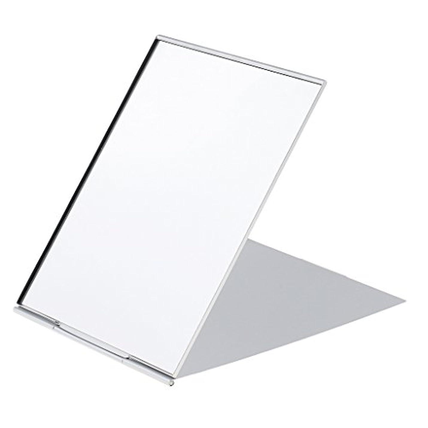 Perfk メイクアップミラー 鏡 化粧鏡 ミニ ポータブル 折り畳み式 超軽量 シンプル ファッション デザイン シルバー 3サイズ選べる - #1