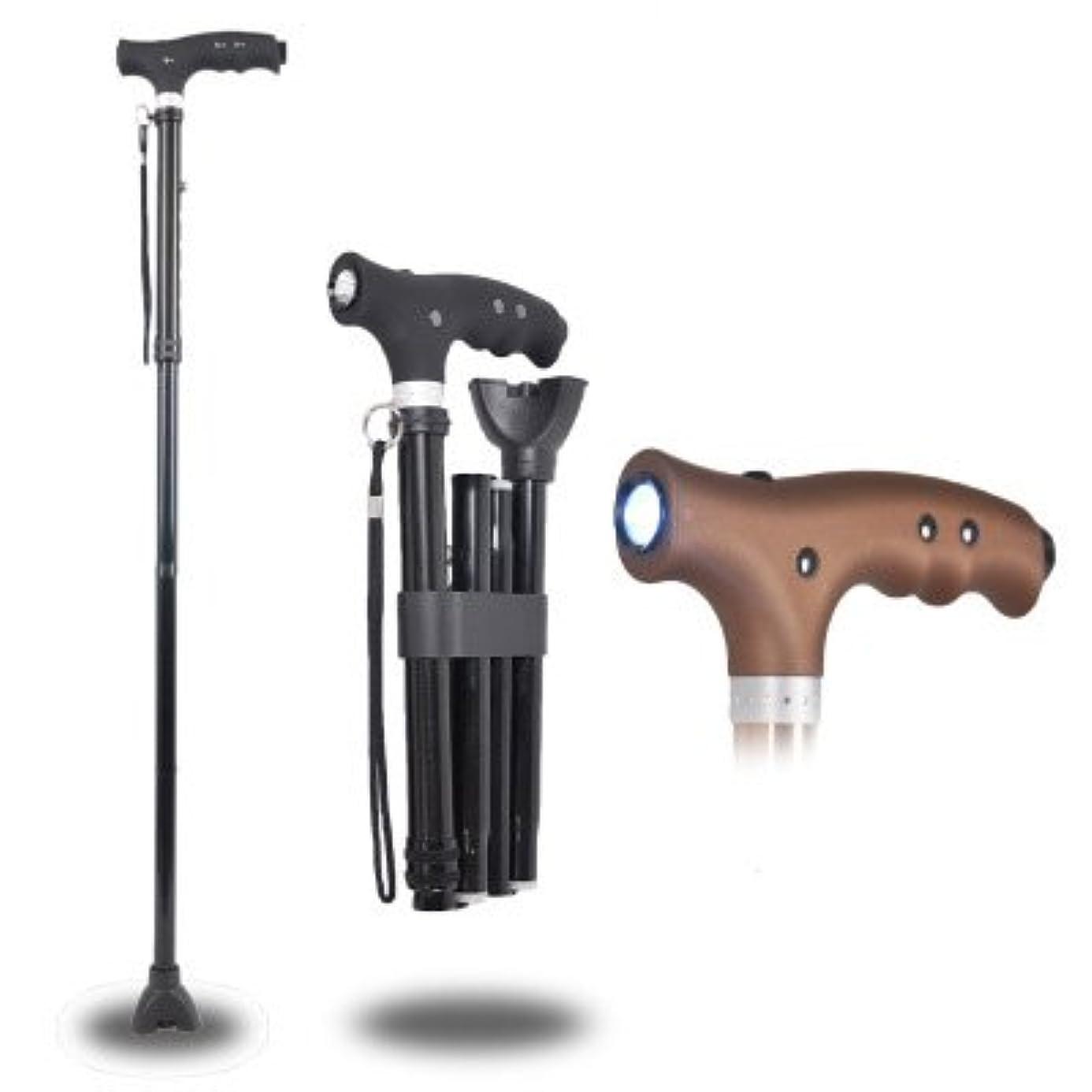 イタリアの靴東方高齢者3脚LEDライトの伸縮マッサージ歩行スティック折りたたみ杖と歩行スティック高さ調節可能な屋外松葉杖アンチスキッドアルミ合金黒85-97センチメートル