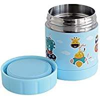 Marcus & Marcus Animal Themed Kids Stainless Steel Thermal Container - Blue [並行輸入品]