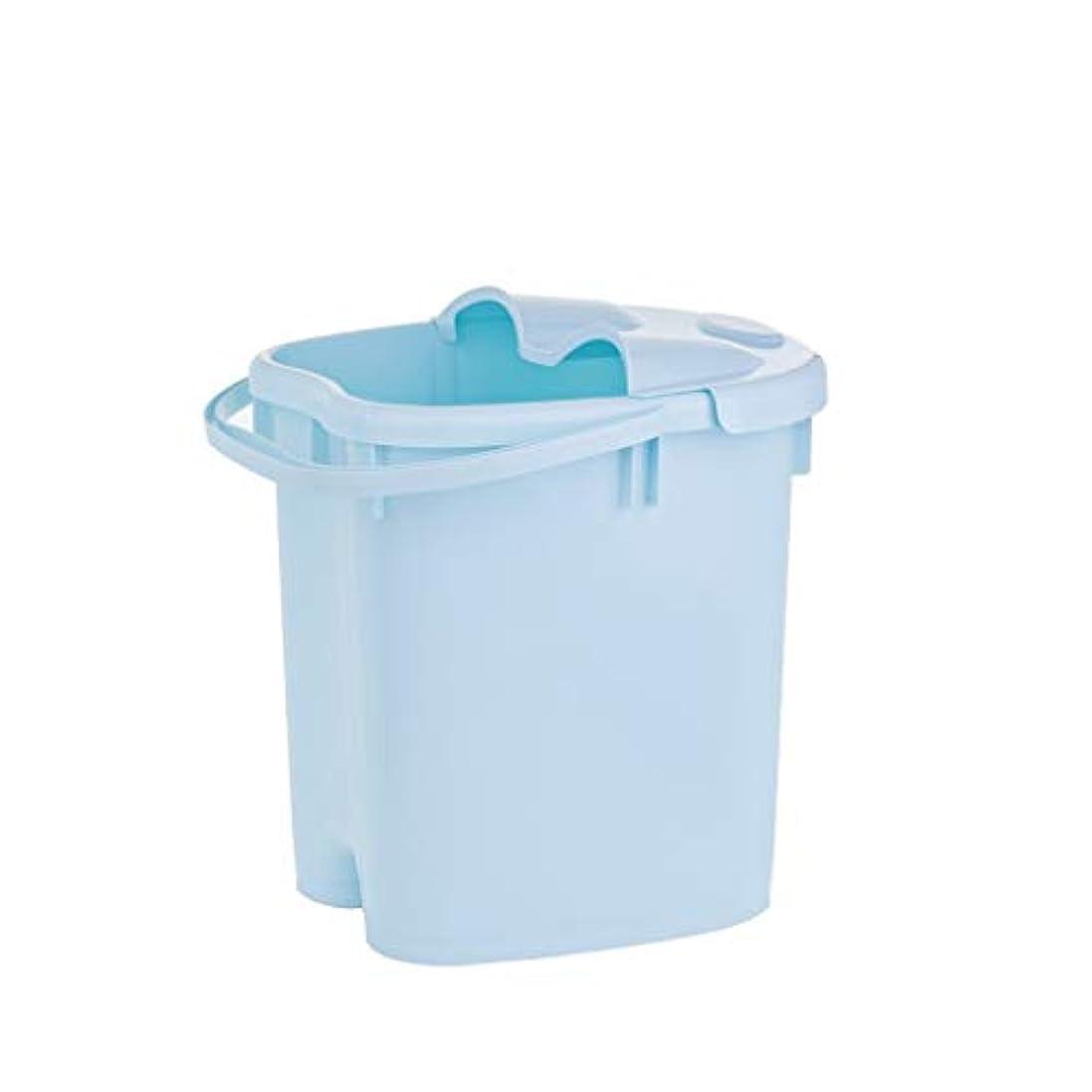 折看板幾分フットバスバレル- ?AMTシンプルな和風マッサージ浴槽ポータブル足湯バケツプラスチック付きふた保温足浴槽 Relax foot (色 : 青, サイズ さいず : 39cm high)