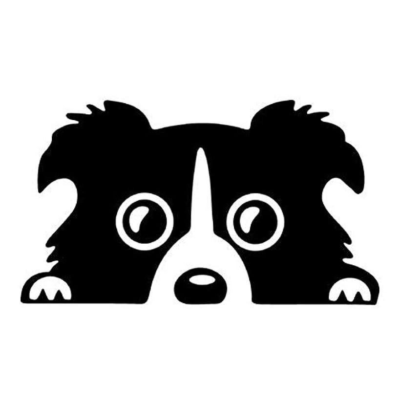 ゆるい朝ごはんペニーコリー犬パターン反射ペット犬車のステッカー車の窓のトラックのアンチスクラッチステッカー車のボディステッカービニールデカール-ブラック