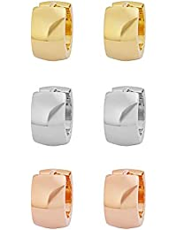 IceWave Stainless Steel Small Hoop Huggie Earrings Gold-Tone Triple Set Men's Women's Three Pairs