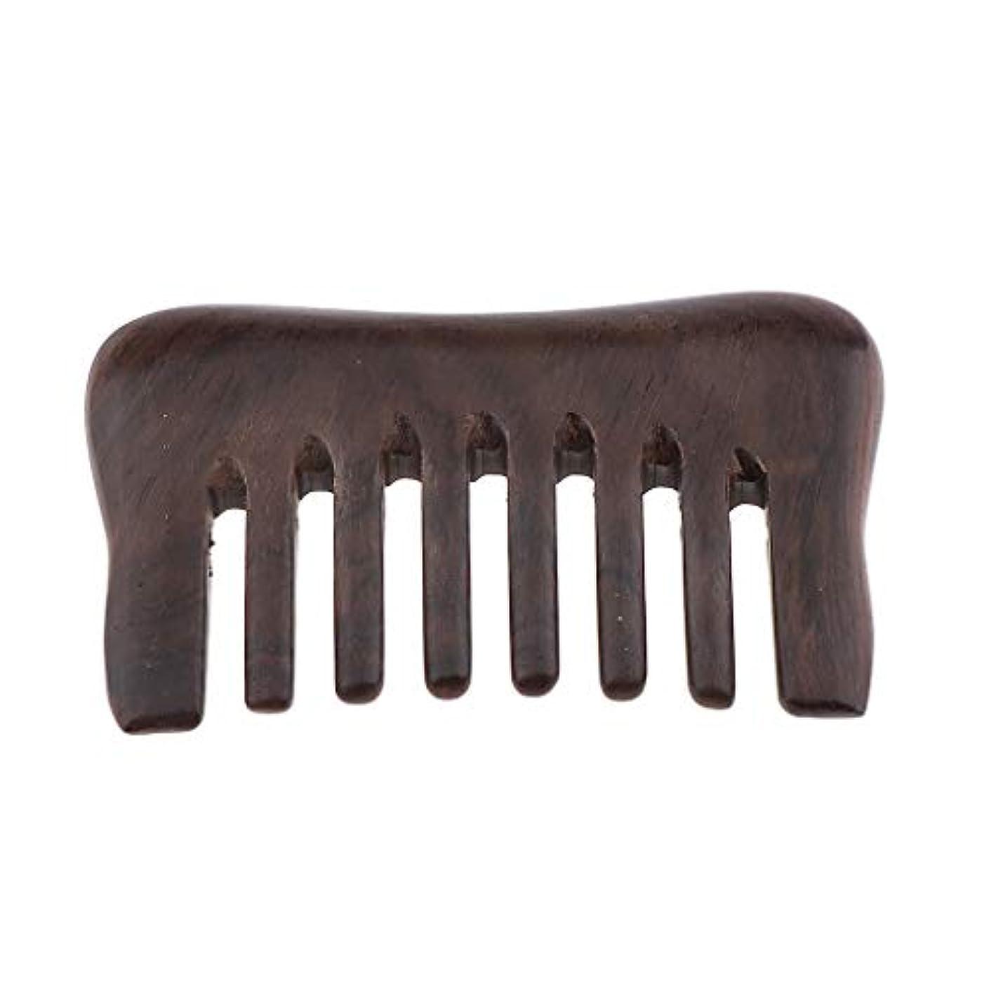 ばか通常穴帯電防止櫛 ウッドコーム 頭皮マッサージ ヘアブラシ プレゼント 3色選べ - 黒檀