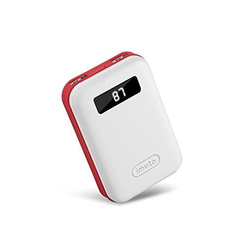 iMuto 大容量 10000mAh モバイルバッテリー コンパクト 急速充電 2USB 出力ポート スマートLED デジタルスクリーンiPhone X 10 8 7 6 Plus/ iPad / Android / Xperia / Galaxy / 各種スマホ / タブレット/ ゲーム機 / Wi-Fiルータ 等対応 カラー:ホワイト