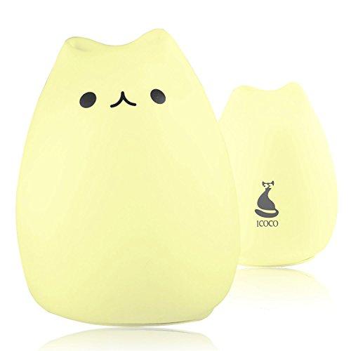 ICOCO シリカゲル猫 萌え猫 ランプ ベッドランプ 呼吸ライト USBケーブルで充電式テーブルランプ 誕生日プレゼントにぴったり (人気猫)