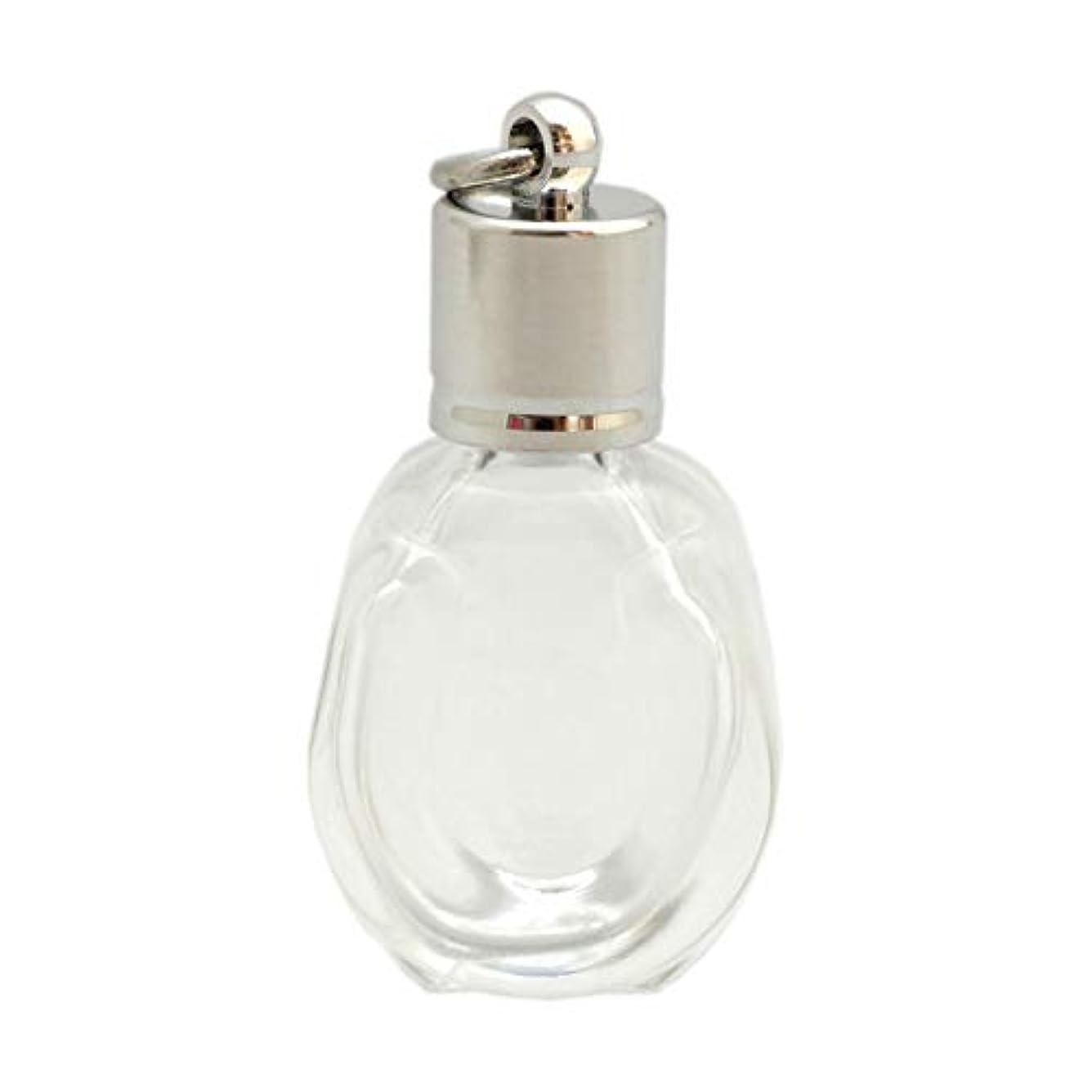 彫刻家たぶん描くミニ香水瓶 アロマペンダントトップ 馬蹄型(透明 容量1.3ml)×穴あきキャップ シルバー