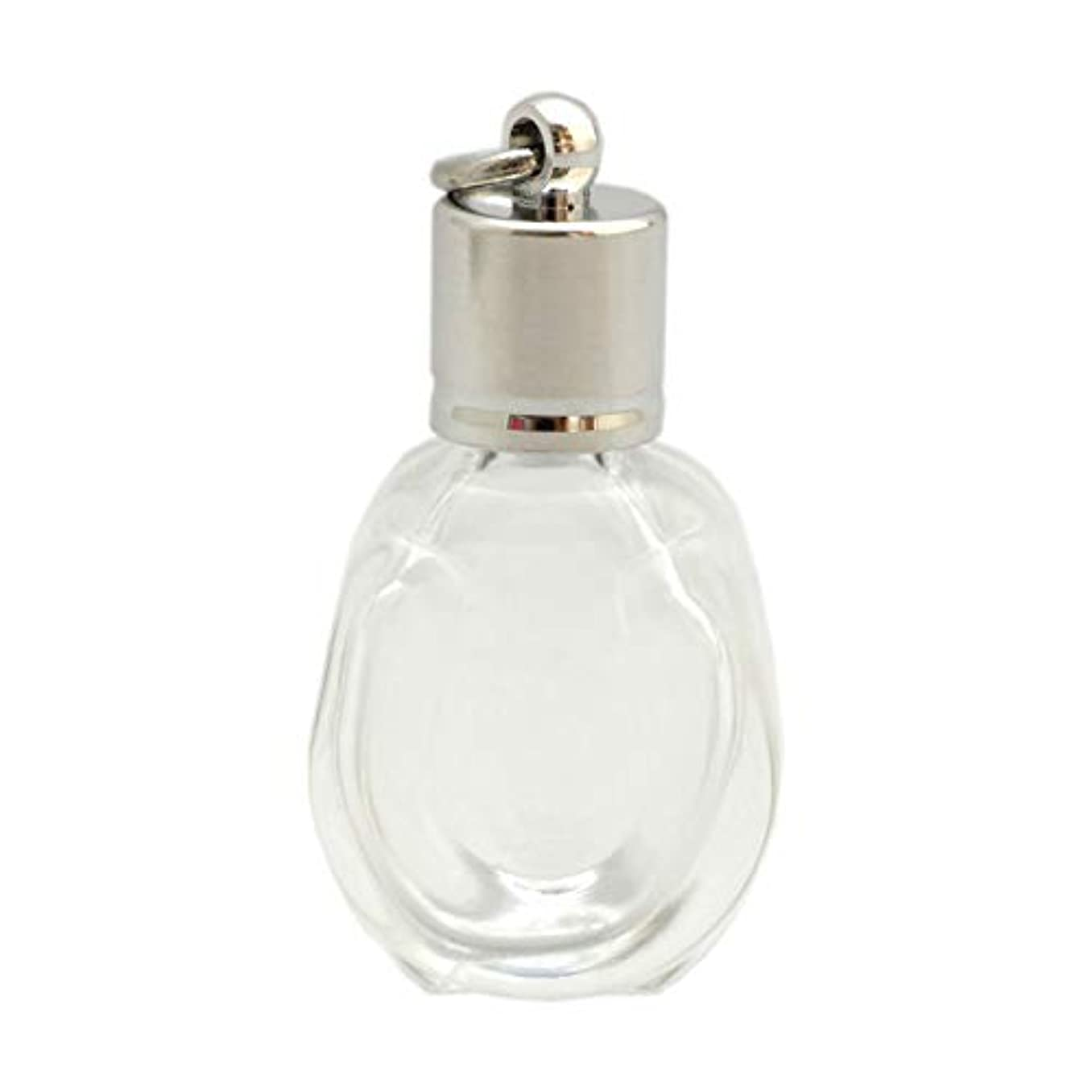 ペナルティお香リングバックミニ香水瓶 アロマペンダントトップ 馬蹄型(透明 容量1.3ml)×穴あきキャップ シルバー