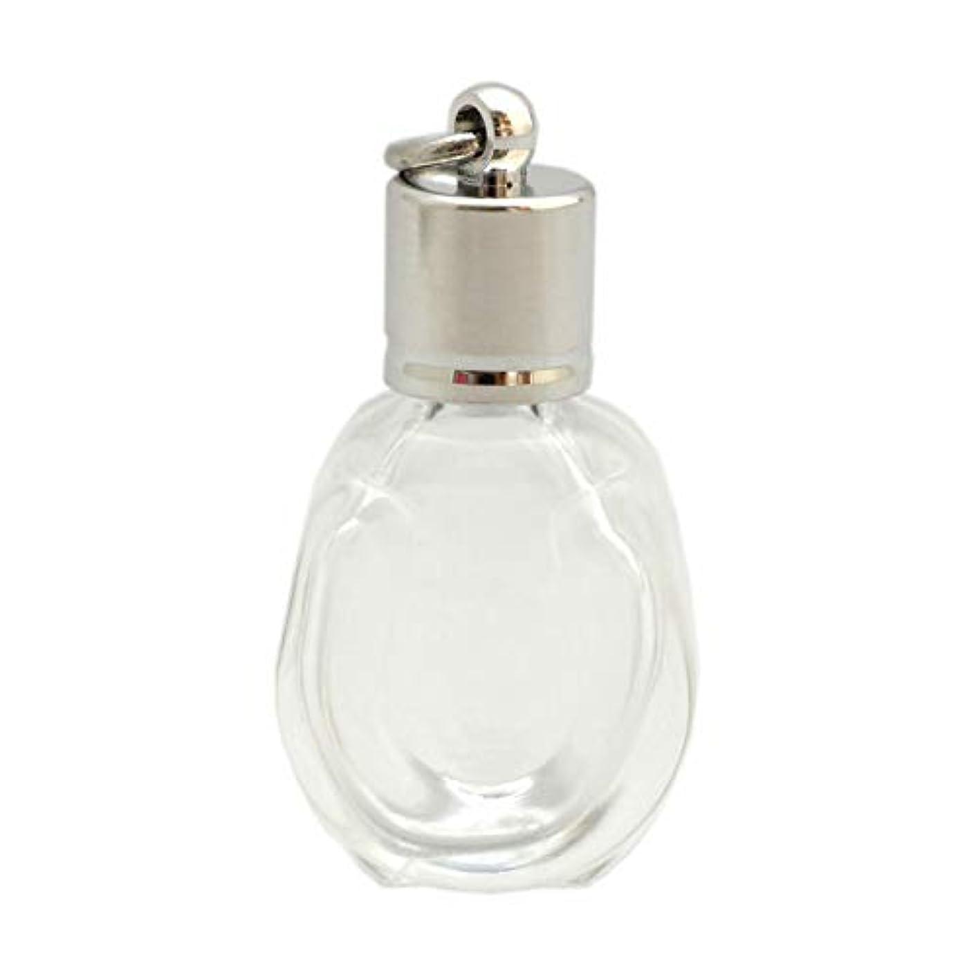 ルアー測るペイントミニ香水瓶 アロマペンダントトップ 馬蹄型(透明 容量1.3ml)×穴あきキャップ シルバー