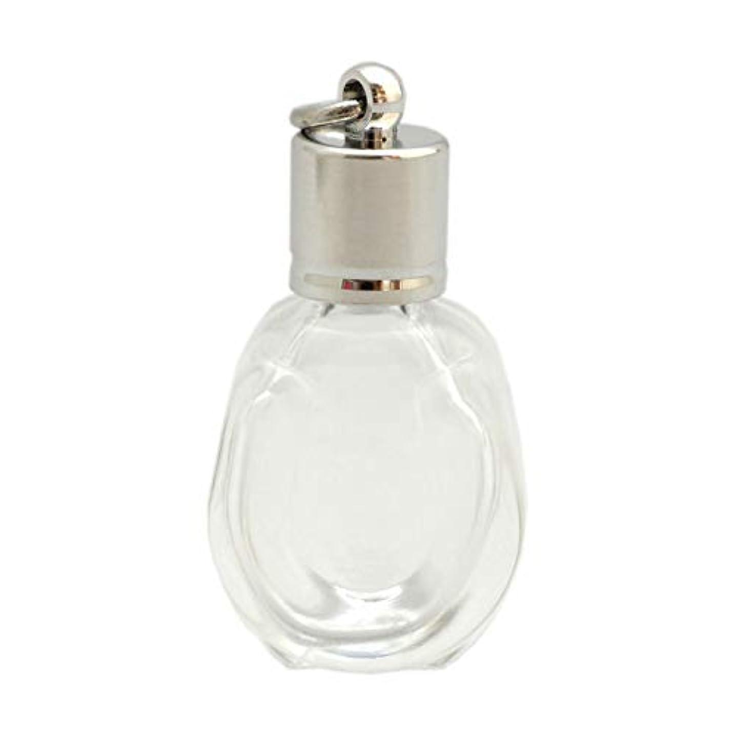 カンガルー納得させる幅ミニ香水瓶 アロマペンダントトップ 馬蹄型(透明 容量1.3ml)×穴あきキャップ シルバー