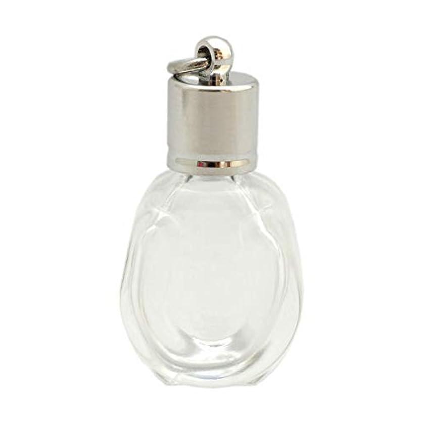 銅縮れたテラスミニ香水瓶 アロマペンダントトップ 馬蹄型(透明 容量1.3ml)×穴あきキャップ シルバー