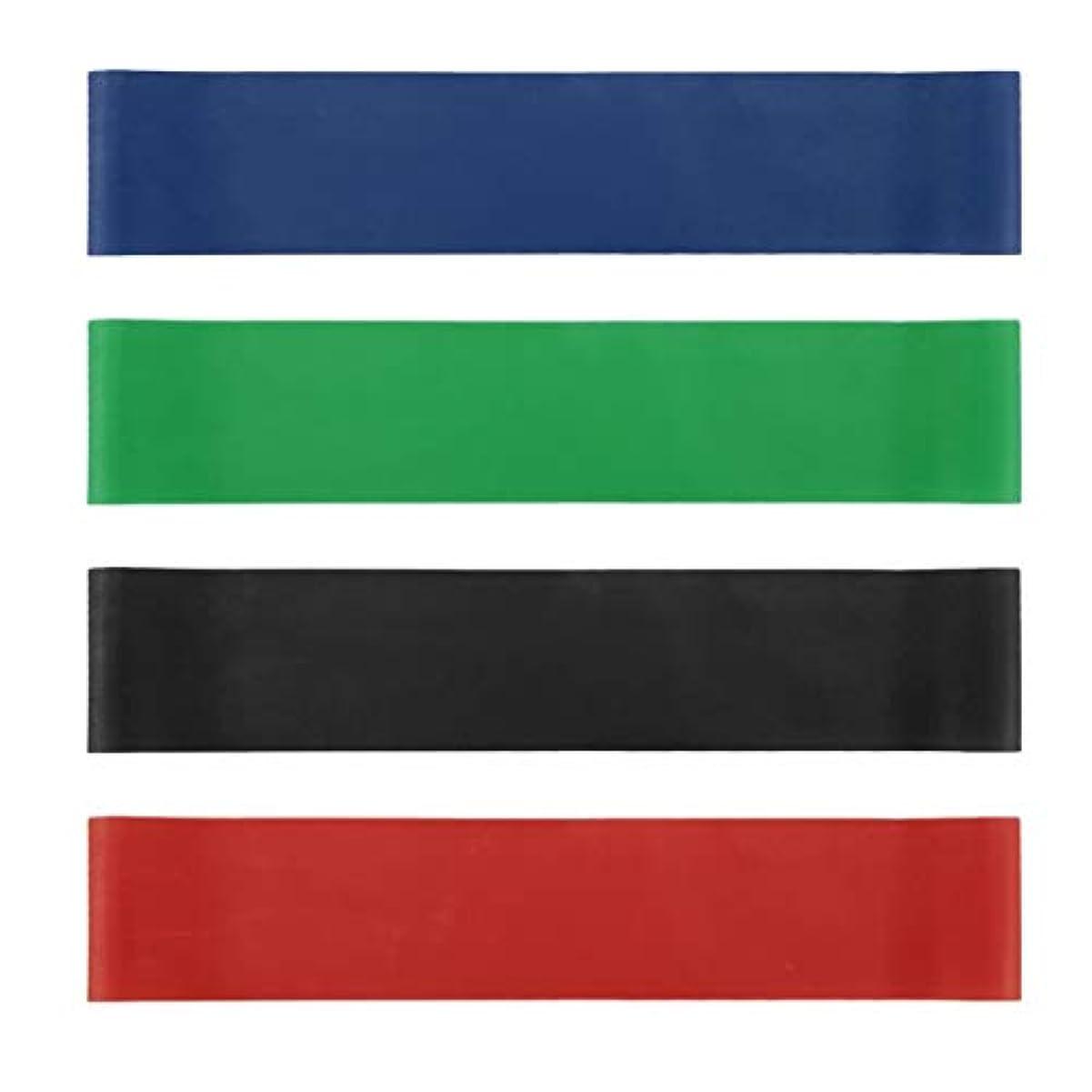 4本の伸縮性ゴム弾性ヨガベルトバンドプルロープ張力抵抗バンドループ強度のフィットネスヨガツール - レッド&ブルー&グリーン&ブラック