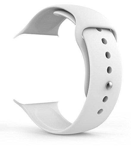 MaKer Apple Watch交換バンド TPUシリコンスポーツブレスレット-[38mm ホワイト]