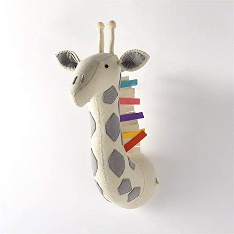JEWH アニマルキリン 象 フラミンゴヘッド 壁マウント - ぬいぐるみ おもちゃ 寝室 装飾 フェルト - アートワーク 壁 人形 写真小道具 (カラフルなキリン)