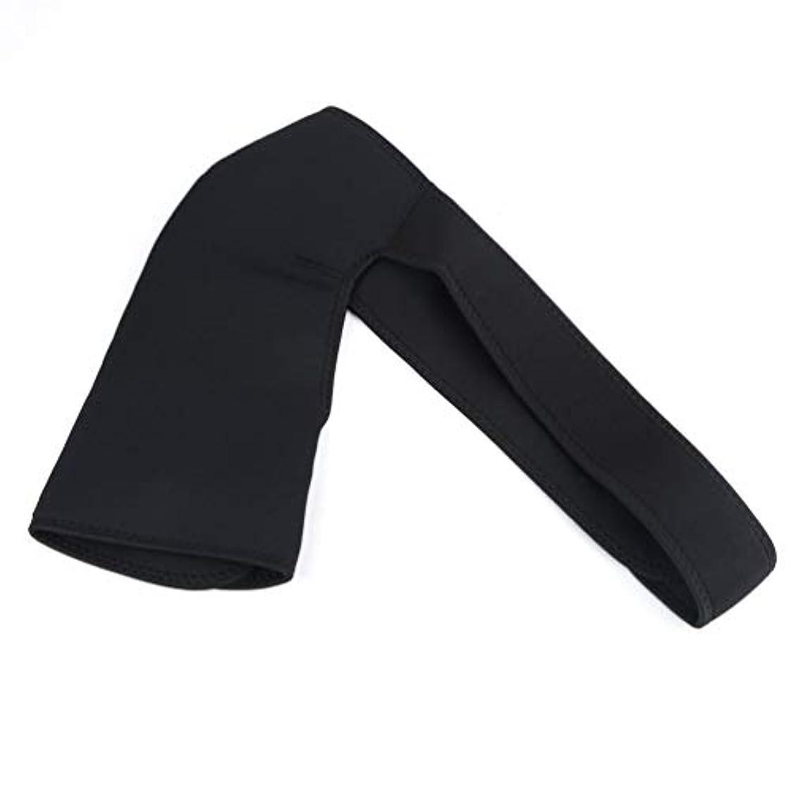 調節可能な ジムスポーツケアシングルショルダーサポートバックブレースガードストラップラップベルトバンドパッドブラック包帯男性&女性 - ブラック