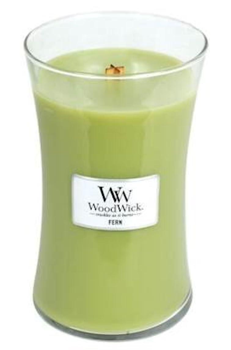 天国ストライドじゃがいもFern WoodWick 22 oz Large砂時計Jar Candle Burns 180時間