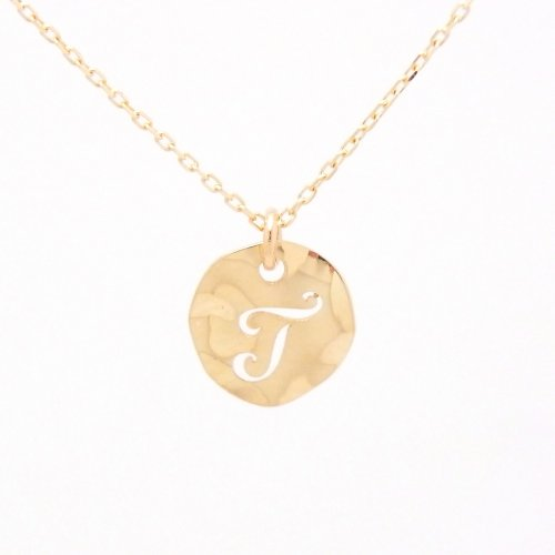 Initial T 18金製 K18 gold ゴールド (日本製 Made in Japan) (金属アレルギー対応) イニシャル 「T」 波型 プレート ペンダント ネックレス チェーン ジュエリー (Amazon.co.jp 限定) [HJ] (40 センチメートル)