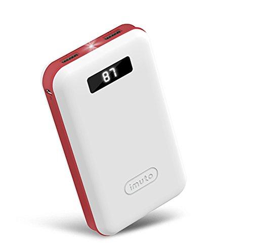 iMuto 超大容量 20000mAh モバイルバッテリー 急速充電 2USB出力ポート スマートデジタルスクリーン LED ライト搭載 Nintendo Switch NS ゲーム機/iPhone X 10 8 7 6 Plus/iPad/Xperia/Galaxy Note8/各種スマホ/タブレット/Wi-Fiルータ 等対応 カラー:ホワイト