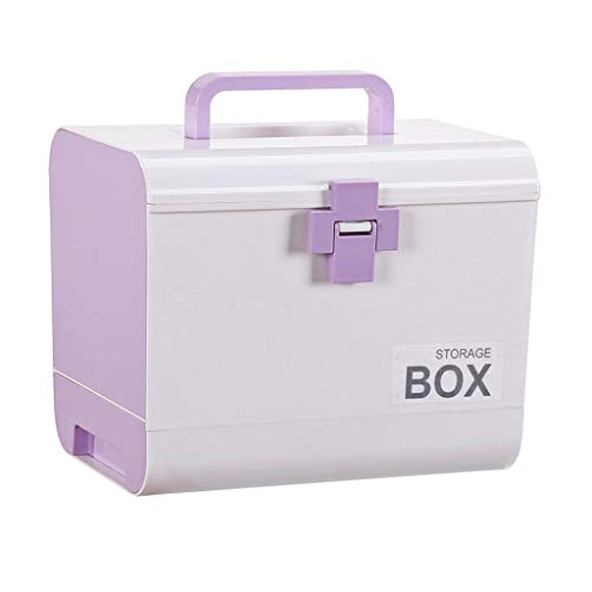 応急処置ケースファミリー大型子供応急処置キット薬収納ボックス26.5 * 18.5 * 22 Cm ZHAOSHUNLI (Color : Purple)