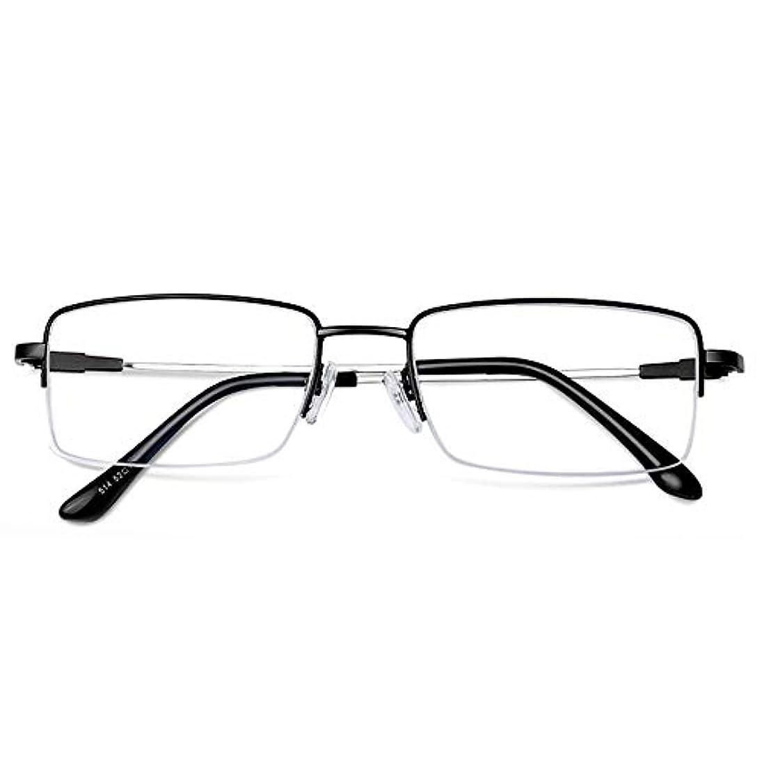 ハーフフレーム老眼鏡X 1、長方形の春ヒンジ黒銃の色合い青の男性と女性の老眼鏡をブロック、読者のお金のための軽量コンピュータカードリーダー